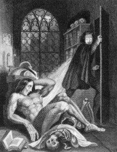 Representación de Frankestein en la primera edición del libro de Shelley, en 1817
