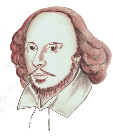 """Posible retrato de Shakespeare basado en el """"Retrato Chandos"""". Ilustración realizada por Olga OC http://www.olgaortiz.es para el libro """"Shakespeare y Cervantes, diferentes parecidos"""". http://guadarramistas.com/tienda/diferentes-parecidos-cervantes-y-shakespeare/"""